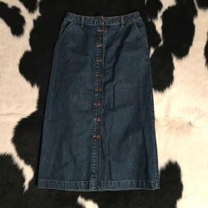 Button Up Midi Denim Skirt